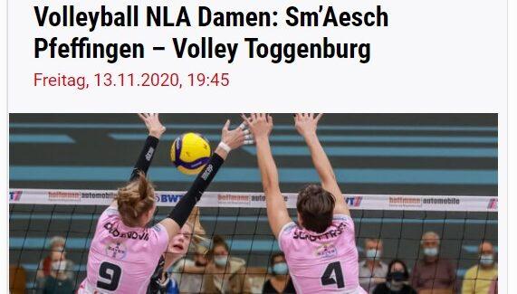 Sm'Aesch-Pfeffingen überträgt das Spiel gegen Raiffeisen Volley Toggenburg im Livestream