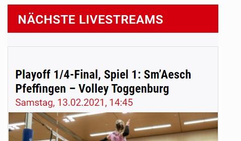 Sm'Aesch-Pfeffingen überträgt die erste Playoff 1/4-Finalpartie im Livestream