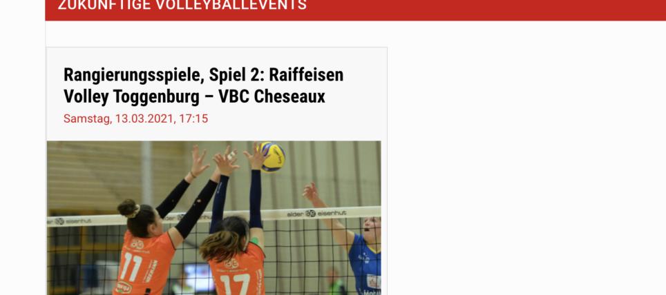 2. Playoff-Spiel zu Hause gegen VBC Cheseaux